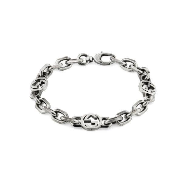Gucci Silver Interlocking GG 19cms Bracelet YBA620798001019
