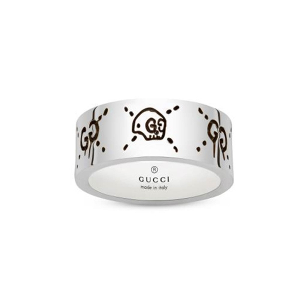 Gucci Silver Ghost 9mm Band Ring YBC455318001019