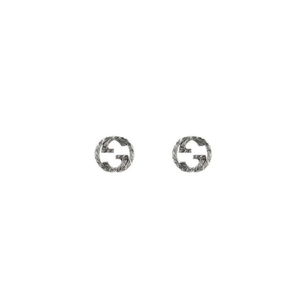 Gucci Silver Interlocking GG Aureco Stud Earrings YBD45710900100U