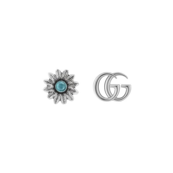 Gucci Silver & Blue Topaz GG Marmont Flower Stud EarringsYBD52734400100U