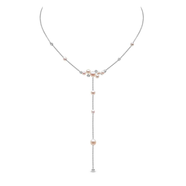 Yoko 18ct White Gold Freshwater and Diamond Y Drop Necklace