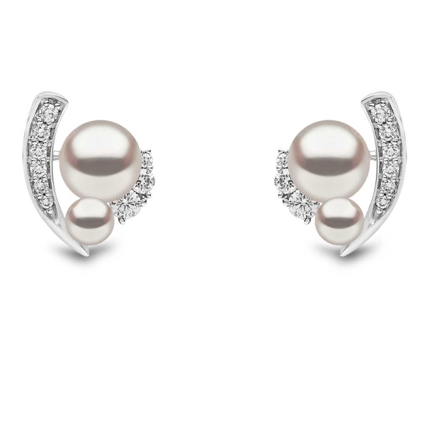 Yoko 18ct White Gold Freshwater Pearl and Diamond Curved Stud Earrings